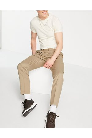 Topman Hombre Chinos - Pronounced twill taper trousers in stone