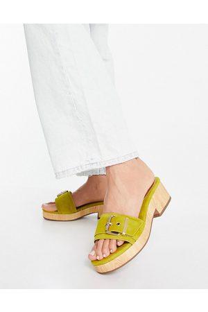 ASOS Mujer Sandalias - Hyde premium suede platform mid sandals in chartreuse