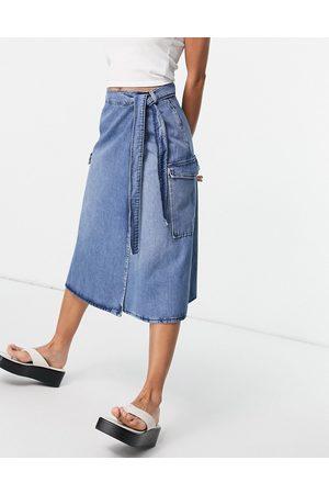 SELECTED Femme longline denim midi skirt in mid blue