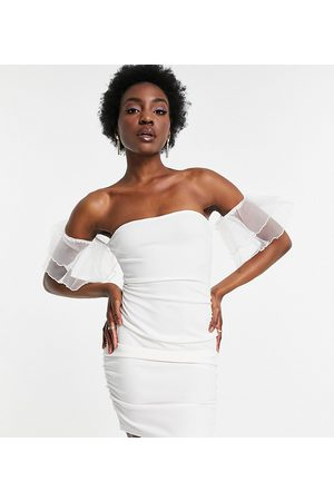 Parisian Mujer Casuales - Off shoulder organza sleeve mini dress in white