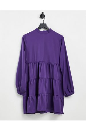Lola May Mujer Casuales - Tiered mini smock dress in purple