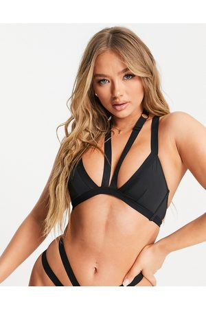 Cosmogonie Exclusive Recycled Microfibre strapping detail triangle bra in black