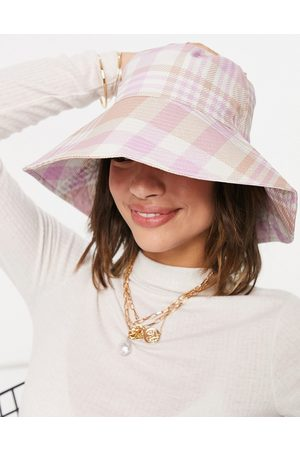 ASOS Fisherman bucket hat in pink and camel check