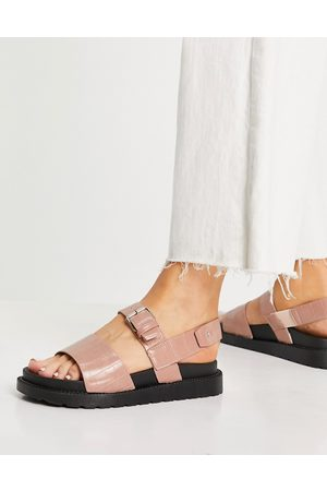 Schuh Mujer Planas - Taytum two part buckle flat sandals in black croc