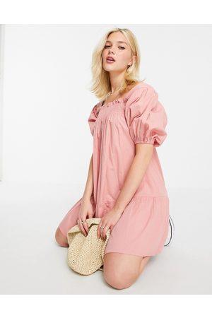 Influence Puff sleeve cotton poplin mini dress in pink