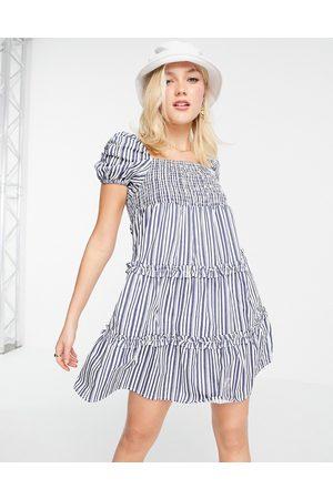 Influence Tiered mini dress in navy stripe