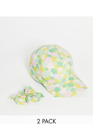 Reclaimed Inspired cap and scrunchie pack in floral print