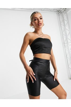 4th & Reckless Satin tie back bandeau top in black