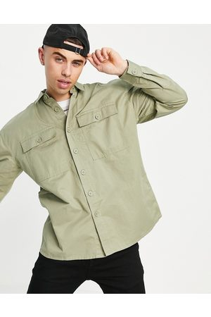 New Look Hombre Casuales - Relaxed fit overshirt in washed khaki