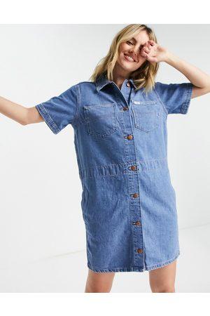 Wrangler Short sleeve denim shirt dress in blue