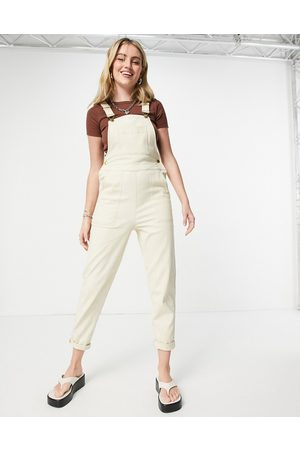 ASOS Twill dungarees with pockets in cream