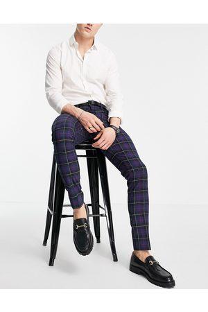 ASOS Skinny smart trousers in navy tartan