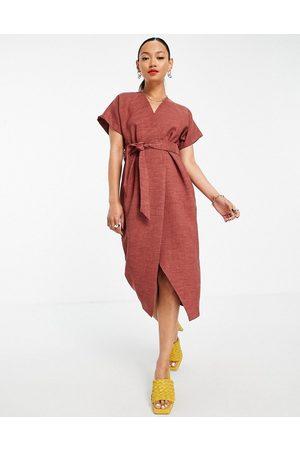 Closet Wrap tie midi dress in brown