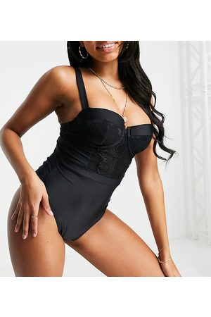 Wolf & Whistle Fuller Bust Exclusive underwire swimsuit with lace panel in black