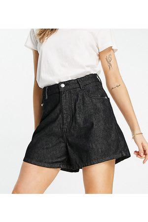 Wednesday's Girl High waist mom shorts in black wash denim