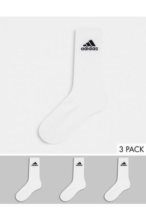 adidas Adidas Training 3 pack cushioned crew socks in white