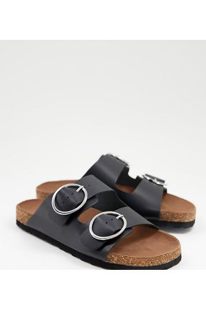 Simply Be Wide fit flat sandal with buckle detail in black