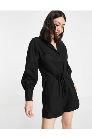 Pretty Lavish Utility playsuit with pockets in black