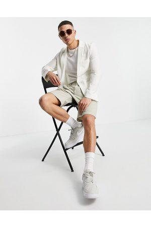 ASOS Soft tailored super skinny blazer in white seersucker