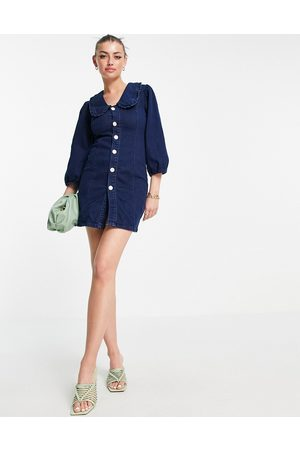 Glamorous Denim mini dress with frill collar and popper front