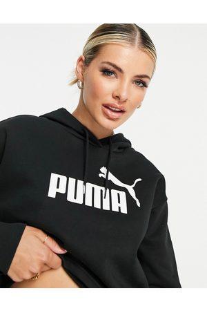 PUMA Essentials cropped logo hoodie in black