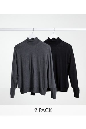 ASOS 2 pack cotton roll neck jumper in black & charcoal