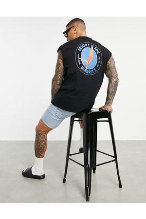 ASOS Oversized vest in black organic cotton with resort back print