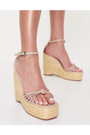 SIMMI Shoes Simmi London Nadir skinny strap espadrille wedge sandals in camel