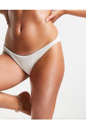 Cotton On Gathered Brazilian bum bikini bottoms co ord in white
