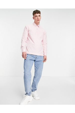 ASOS Hombre Camisas - Overhead washed poplin rugby shirt in pink