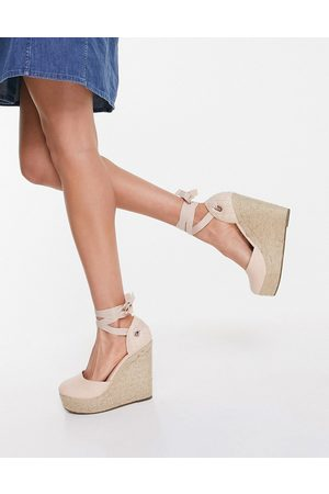 Truffle Collection High espadrille wedges with tie leg in
