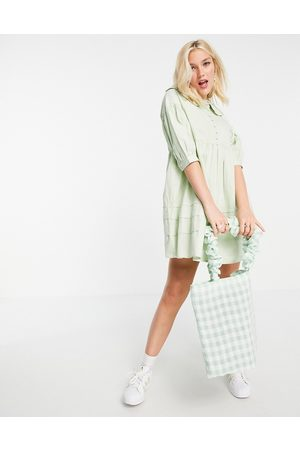 Influence Collared mini dress with button down front in sage green