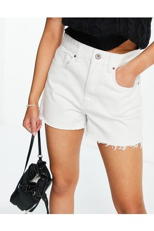 Cotton On High waisted mom short with frayed hem in white