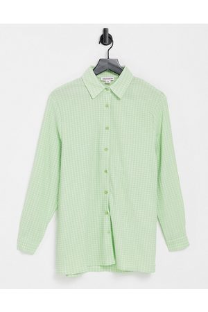 Urban Threads Oversized checked shirt in green