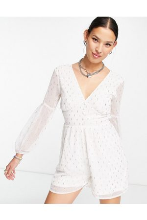 VIOLET ROMANCE Playsuit with lace up back in white