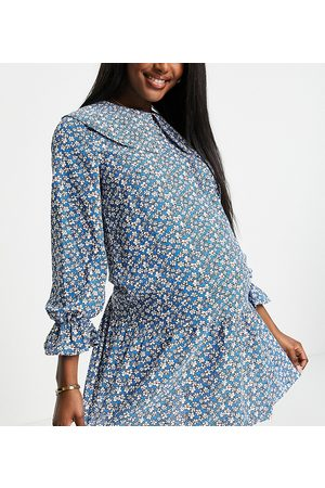 Pieces Maternity Mini smock dress with exaggerated collar in blue ditsy floral