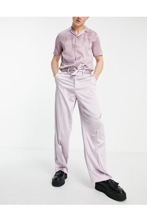 ASOS Extreme wide smart trouser in blush sateen