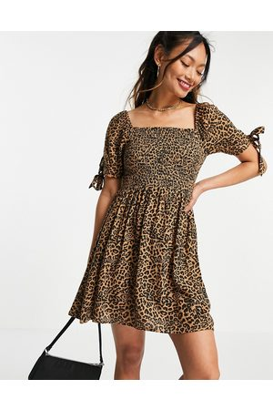 AMERICAN EAGLE Square neck dress with shirring in animal print