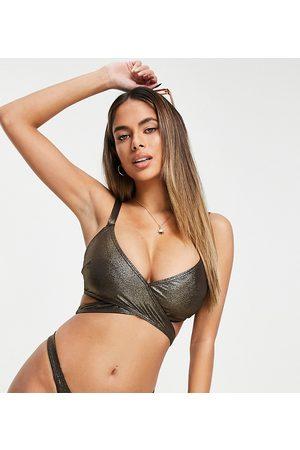Wolf & Whistle Mujer Bikinis - Fuller Bust Exclusive wrap bikini top in coffee glitter