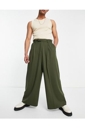 ASOS High waisted extreme wide smart trouser in khaki