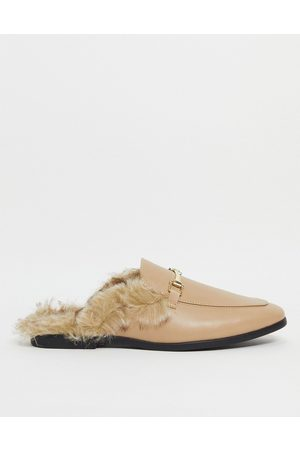 ASOS Backless mule loafer in faux leather with faux fur