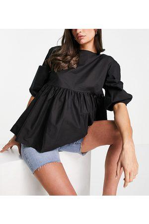 Urban Bliss Oversized smock top in black