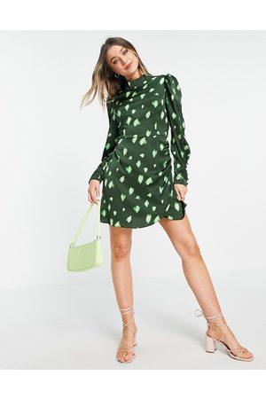 Glamorous Long sleeve spotty mini dress in green