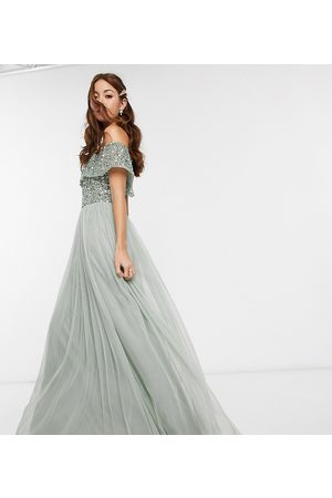 Maya Bridesmaid bardot maxi tulle dress with tonal delicate sequins in sage green