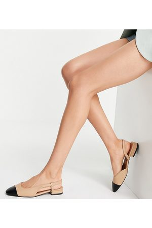 ASOS Wide Fit Lively slingback ballet flats in and black
