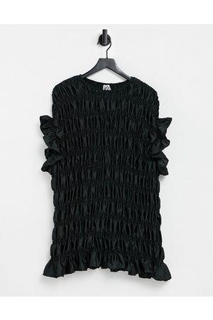 Lola May Shirred satin mini dress in black