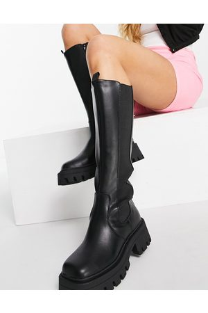 ASOS Chestnut square toe chunky knee boots in black