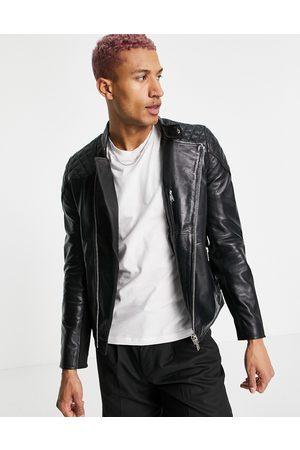 Bolongaro Hombre De piel - Quilted leather biker jacket