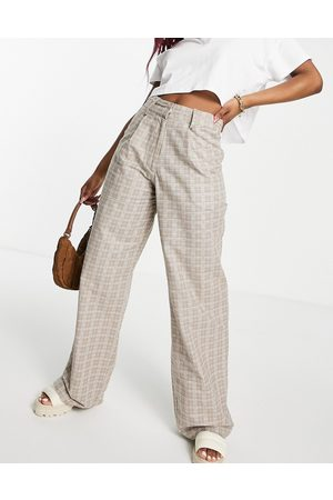 Motel High waisted wide leg trousers in check co