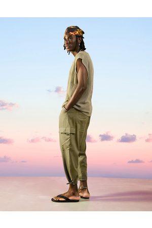 ASOS Drop crotch cargo linen mix trousers in khaki